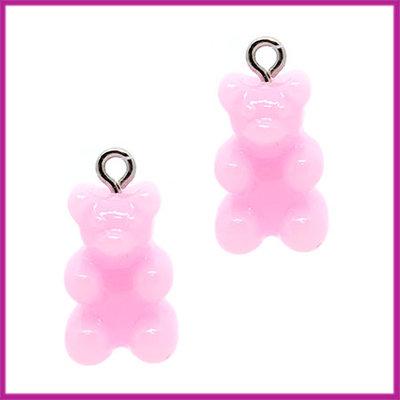 Kunststof bedel / hanger Gummiebeer opaque roze