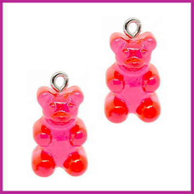 Kunststof bedel / hanger Gummiebeer transparant rood