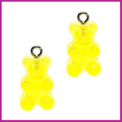 Kunststof bedel / hanger Gummiebeer transparant geel