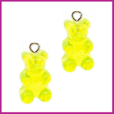 Kunststof bedel / hanger Gummiebeer transparant groen