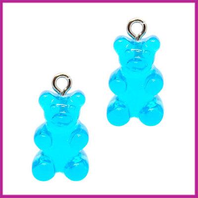 Kunststof bedel / hanger Gummiebeer transparant blauw