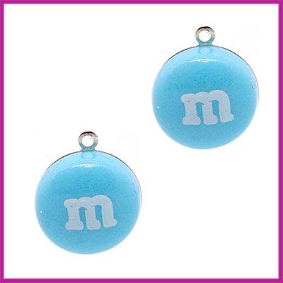 Kunststof bedel / hanger M&M snoepje blauw