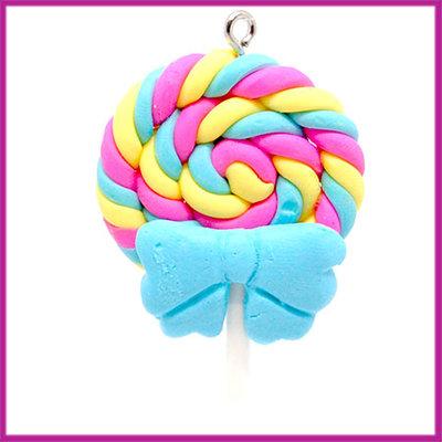 Fimo bedel / hanger swirl lolly met strik blauw