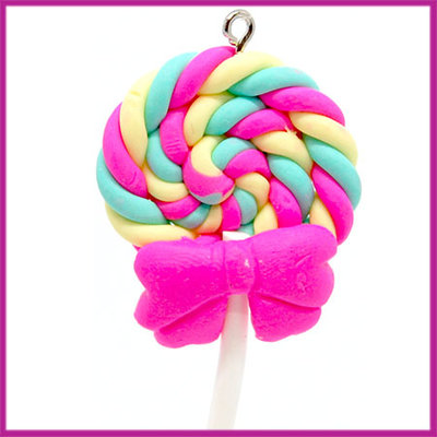 Fimo bedel / hanger swirl lolly met strik roze