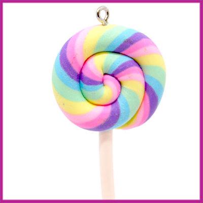 Fimo bedel / hanger swirl lolly regenboog pastel
