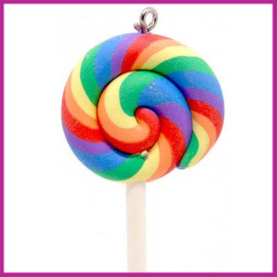 Fimo bedel / hanger swirl lolly regenboog