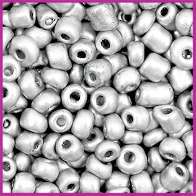 Rocailles 6/0 (4mm) Aluminium zilver