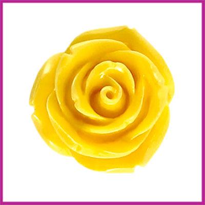 Kunststof kraal roos 22mm Geel