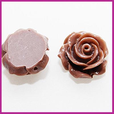 Kunststof kraal roos 15mm Lever grijs bruin