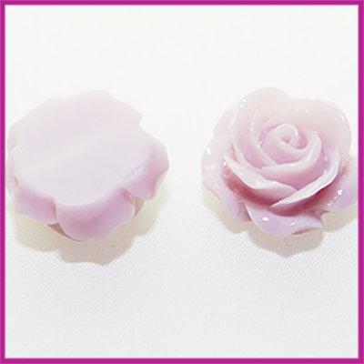 Kunststof kraal roos 15mm Licht grijs paars