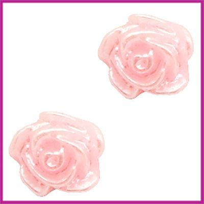 Kunststof kraal roosje 6mm Baby pink - zilver coating