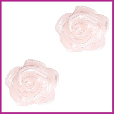 Kunststof kraal roosje 6mm Pink harmony - zilver coating