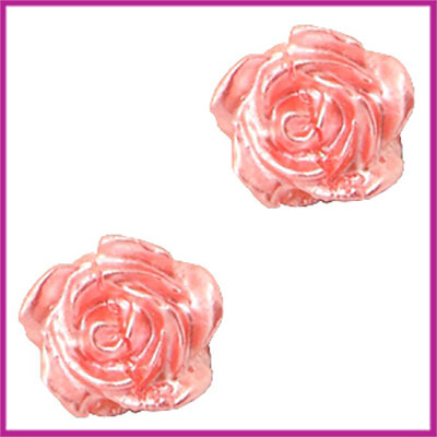 Kunststof kraal roosje 6mm Wit - shell pink pearl shine