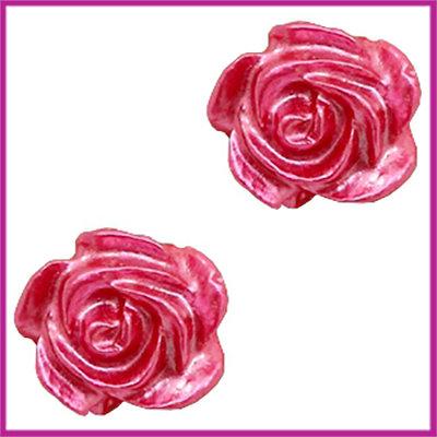 Kunststof kraal roosje 6mm Wit - magenta pink pearl shine