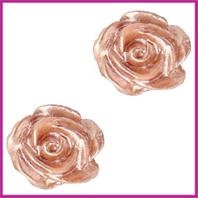 Kunststof kraal roosje 6mm Wit - ginger rose pearl shine