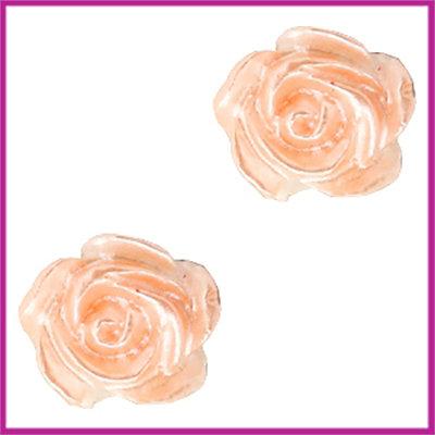 Kunststof kraal roosje 6mm Wit - springtime peach pearl shine