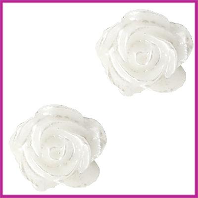 Kunststof kraal roosje 6mm Wit - pearl shine