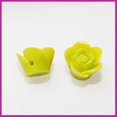 Kunststof kraal roos 12mm Lime groen