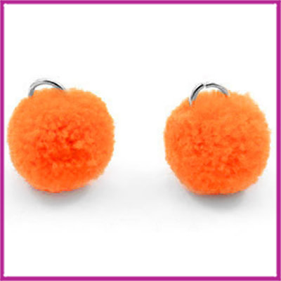 Pompom bedel met zilver ringetje Ø15mm Coral red orange