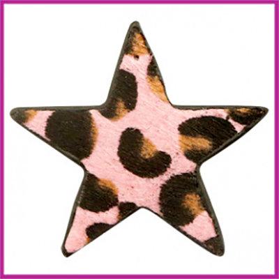 Hairy imi leer hangers ster met leopardprint Pink