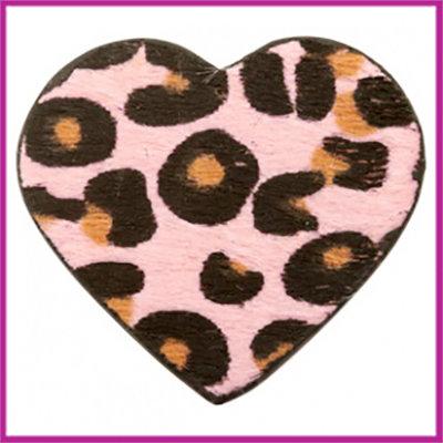 Hairy imi leer hangers hart met leopardprint Pink