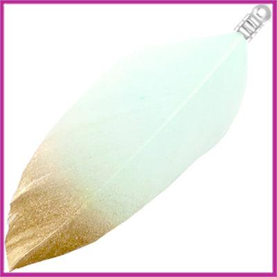 Veertjes dip-dye gold Pastel turquoise green