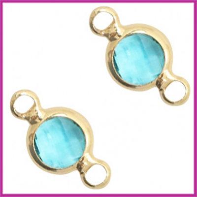 Tussenstuk van crystal glas rond 6mm Turquoise blue opal - goud