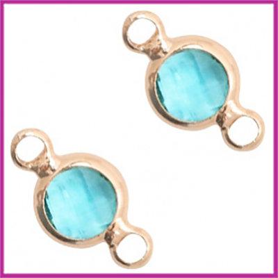 Tussenstuk van crystal glas rond 6mm Turquoise blue opal - rosegold