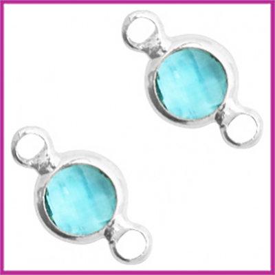 Tussenstuk van crystal glas rond 6mm Turquoise blue opal - zilver