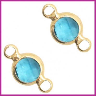 Tussenstuk van crystal glas rond 6mm Blue zircon - goud
