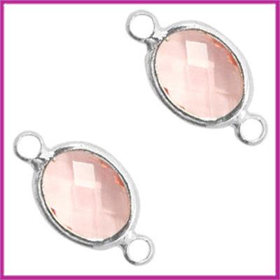 Tussenstuk van crystal glas ovaal Vintage rose crystal - zilver