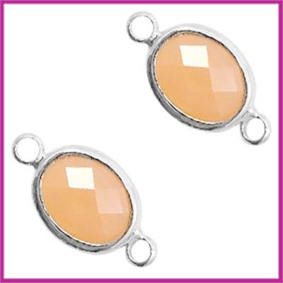Tussenstuk van crystal glas ovaal Light peach - zilver