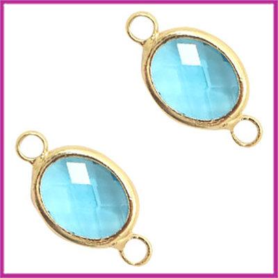 Tussenstuk van crystal glas ovaal Turquoise blue opal - goud