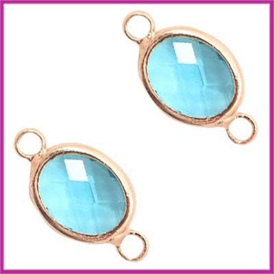 Tussenstuk van crystal glas ovaal Turquoise blue opal - rosegold