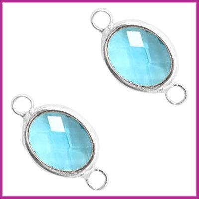 Tussenstuk van crystal glas ovaal Turquoise blue opal - zilver
