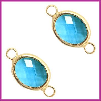 Tussenstuk van crystal glas ovaal Blue zircon crystal - goud
