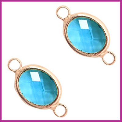 Tussenstuk van crystal glas ovaal Blue zircon crystal - rosegold