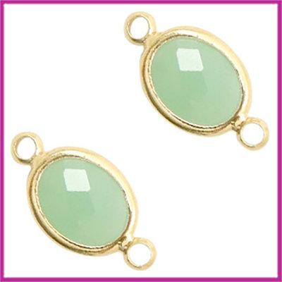 Tussenstuk van crystal glas ovaal Chrysolite green - goud
