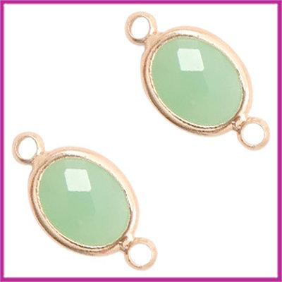 Tussenstuk van crystal glas ovaal Chrysolite green - rosegold
