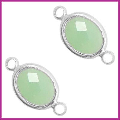 Tussenstuk van crystal glas ovaal Chrysolite green - zilver