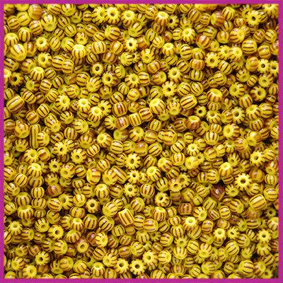 Czech rocailles Matte yellow black striped 11/0