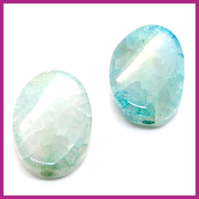 Agaat kraal golvend ovaal Light turquoise blue opal ca. 20x15mm