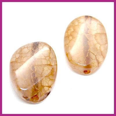 Agaat kraal golvend ovaal Light brown opal ca. 20x15mm