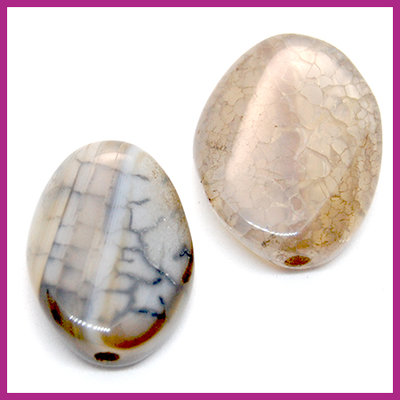 Agaat kraal golvend ovaal Earth grey opal ca. 20x15mm