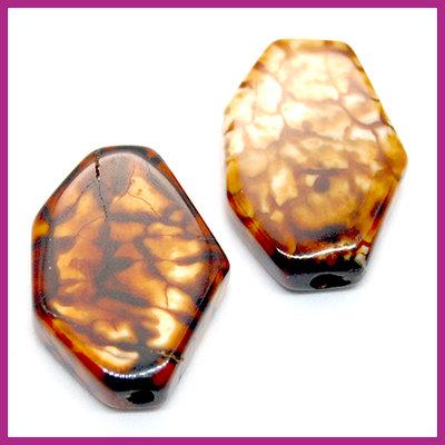 Agaat kraal zeshoek Beige brown ca. 25x18mm