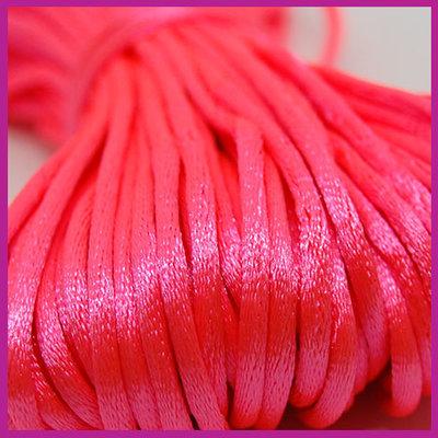 Satijnkoord Ø2 mm Neon pink