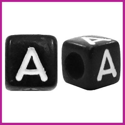 Letterkraal acryl zwart/wit blokje 6x6 mm A