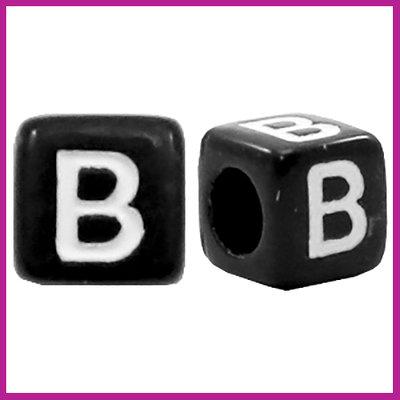 Letterkraal acryl zwart/wit blokje 6x6 mm B