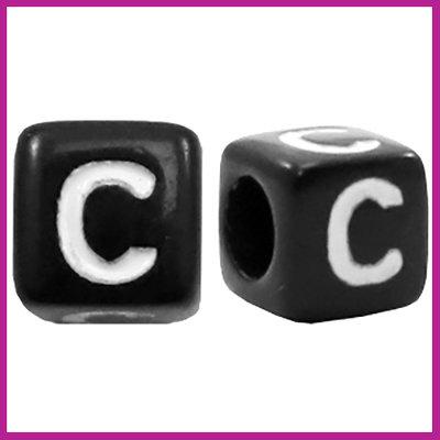 Letterkraal acryl zwart/wit blokje 6x6 mm C