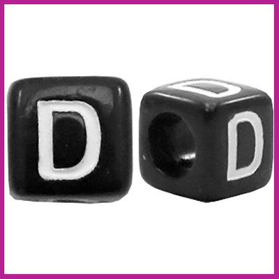 Letterkraal acryl zwart/wit blokje 6x6 mm D